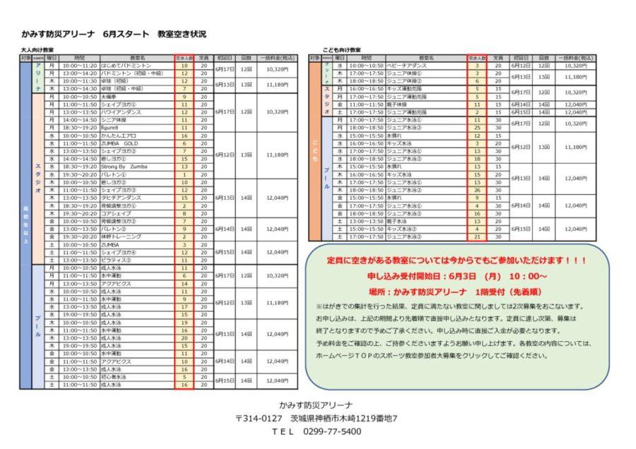 かみす防災アリーナ 教室2次募集空き状況表のサムネイル
